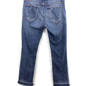 Current/Elliott Cropped Straight Fray Hem Jeans